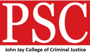Red PSC logo, with text John Jay College of Criminal Justice Justice